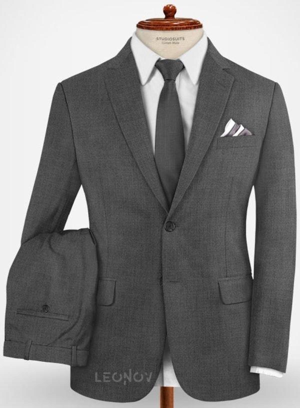 Повседневный серый костюм из шерсти