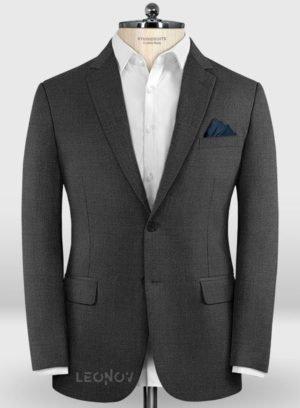 Деловой классический угольно-серый пиджак из шерсти