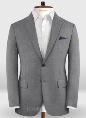 Деловой классический серый пиджак из шерсти