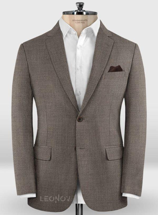 Деловой классический коричневый пиджак из шерсти