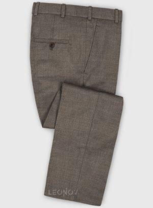 Деловые классические коричневые брюки из шерсти