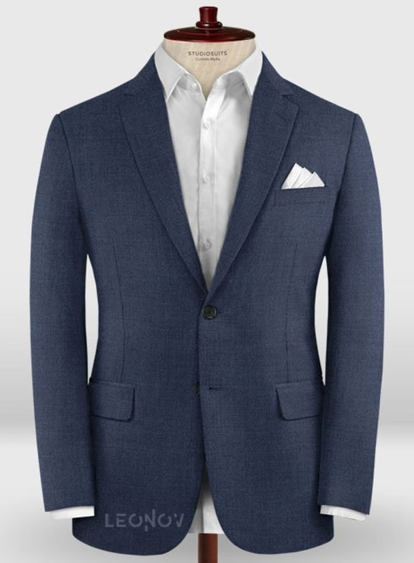 Деловой классический синий пиджак из шерсти